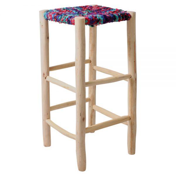 taburete alto madera asiento tapizado