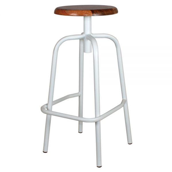 taburete bar industrial patas blancas asiento madera