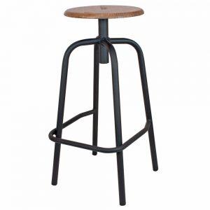 taburete bar industrial asiento madera