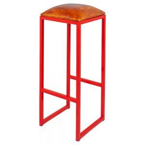 taburete estructura color rojo asiento marron