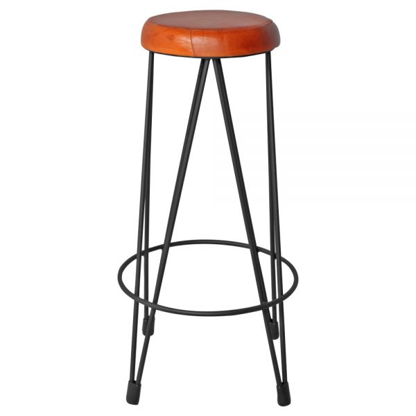 taburete alto bar industrial asiento piel patas negras