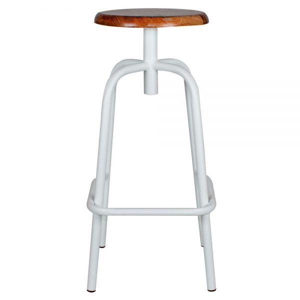 taburete bar blanco asiento madera