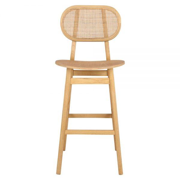 taburete madera con respaldo nórdico