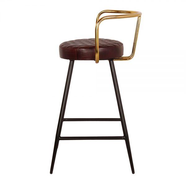 taburete asiento tapizado piel patas negras