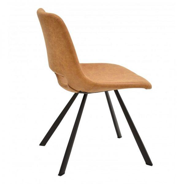 silla tapizada polipiel marrón caramelo patas negras