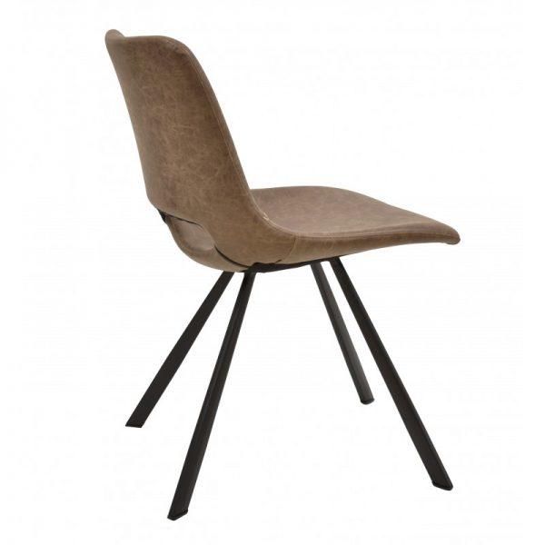 silla tapizada polipiel marrón y patas negras