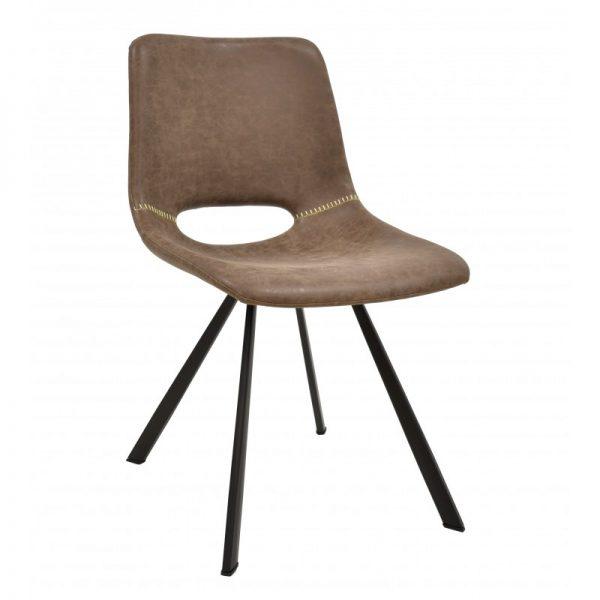 silla tapizada polipiel color marrón y patas negras