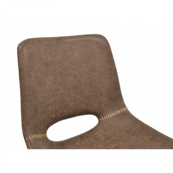 silla tapizada piel sintética marrón patas metal negro