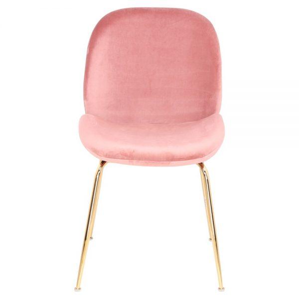 silla asiento tapizado rosa con patas doradas