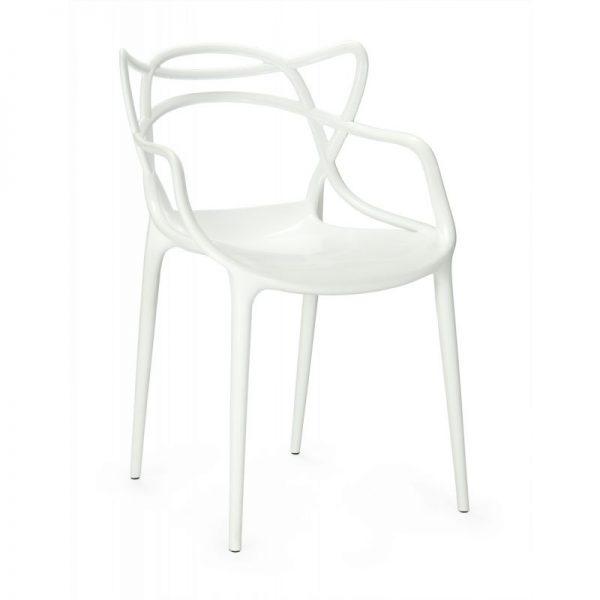 silla blanca plastico apilable exterior