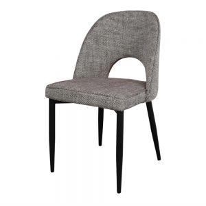 silla asiento tapizado tela gris patas negras
