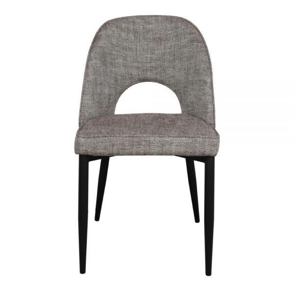 silla asiento tela gris patas negras