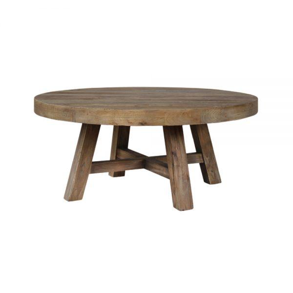 mesa redonda con tapa y patas de madera envejecida