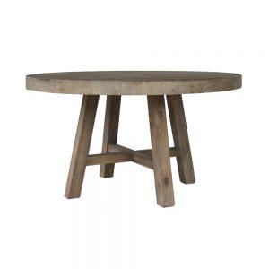 mesa comedor redonda madera envejecida