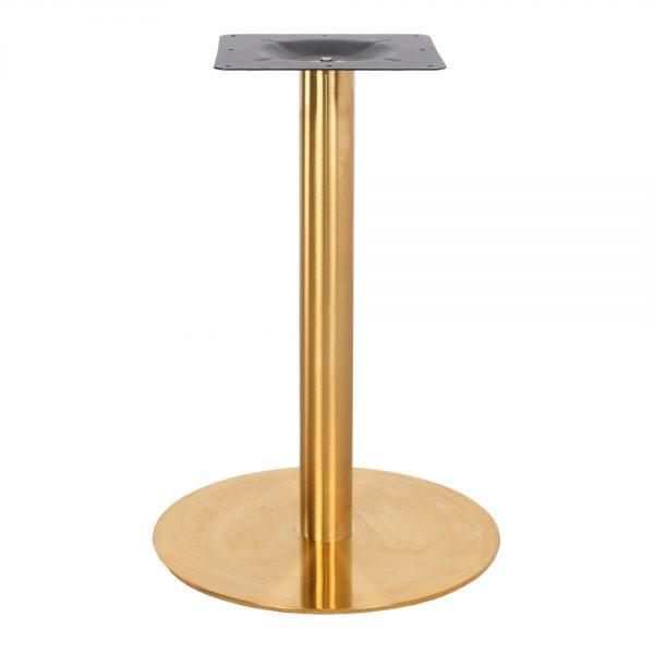 pie central dorado con base redonda