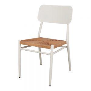 silla metalica blanca asiento trenzado