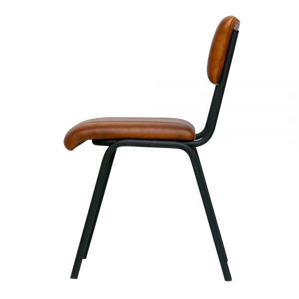 silla con asiento y respaldo tapizado cuero y patas negras