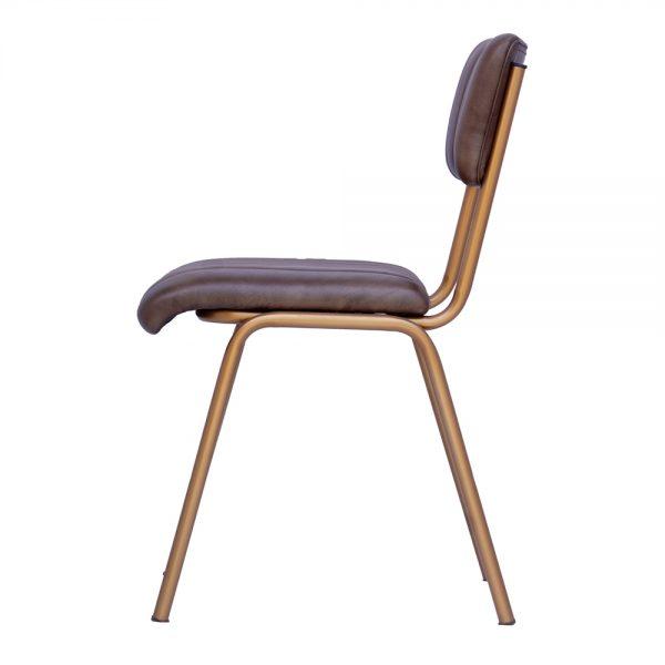 silla asiento y respaldo tapizado y patas doradas