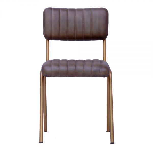 silla asiento piel patas doradas
