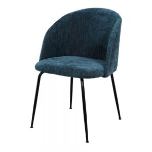 silla tapizada azul con patas negras