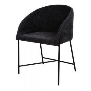 silla tapizado negra con patas metálicas