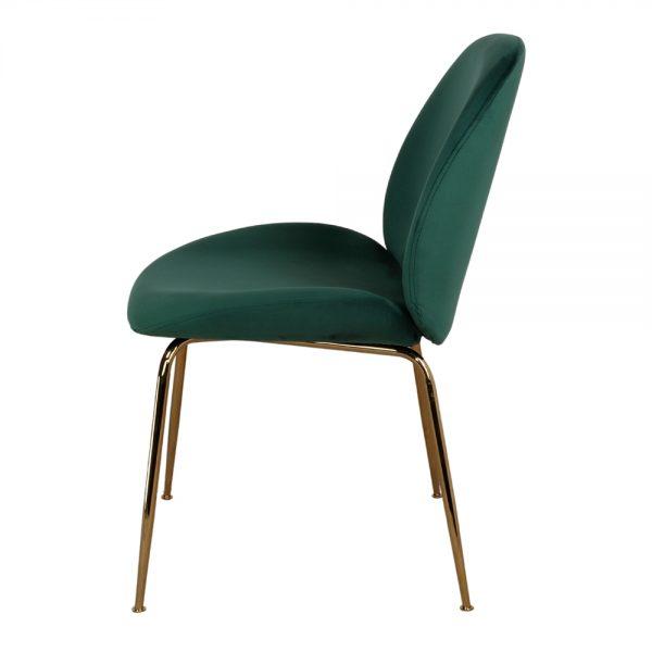 silla tapizada verde y patas metálicas doradas