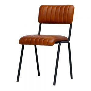 silla asiento y respaldo cuero marrón y patas negras