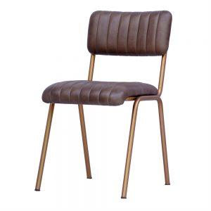 silla estructura dorada asiento y respaldo piel marron