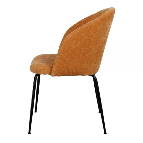 silla asiento tapizado mostaza patas negras