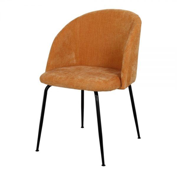 silla tapizada mostaza patas metálicas negras
