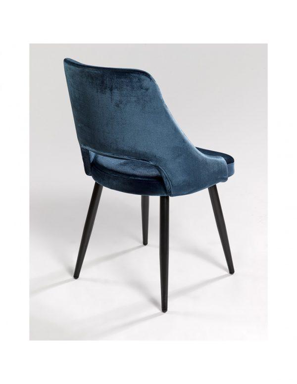 silla tapizada azul electrico y patas negras