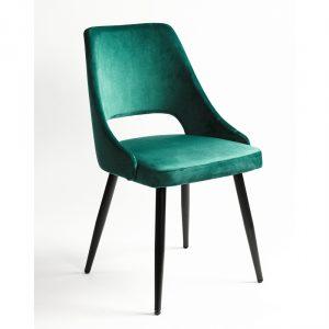 silla tapizada terciopelo verde con patas negras