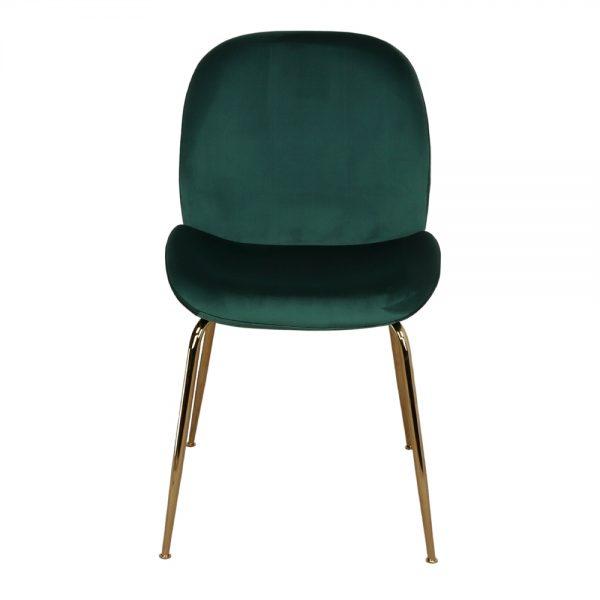 silla con asiento verde y patas doradas
