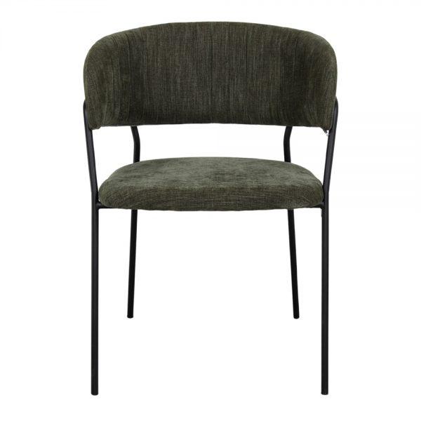 silla asiento tela verde oscuro patas negras