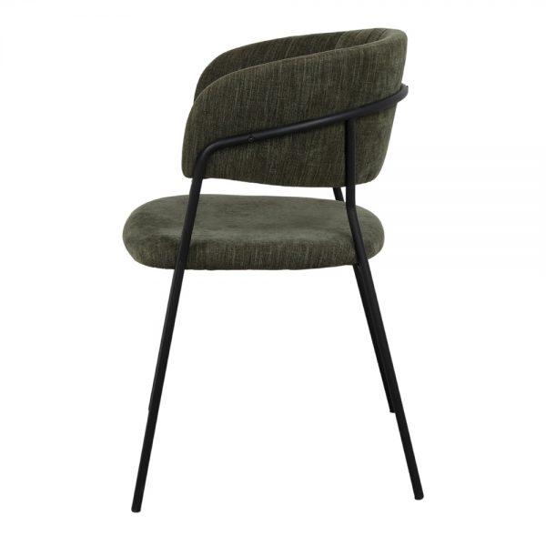 silla tapizada tela verde oscuro