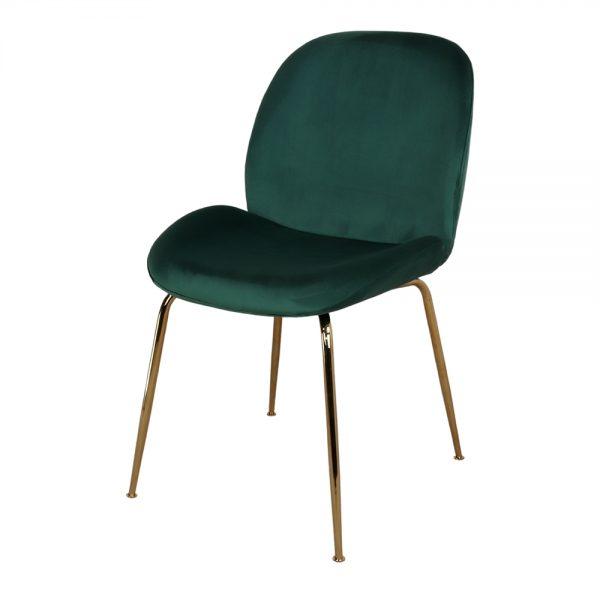 silla verde oscuro con patas de metal doradas