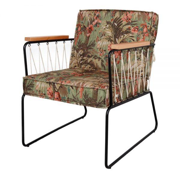 sillón de tela estampado flores