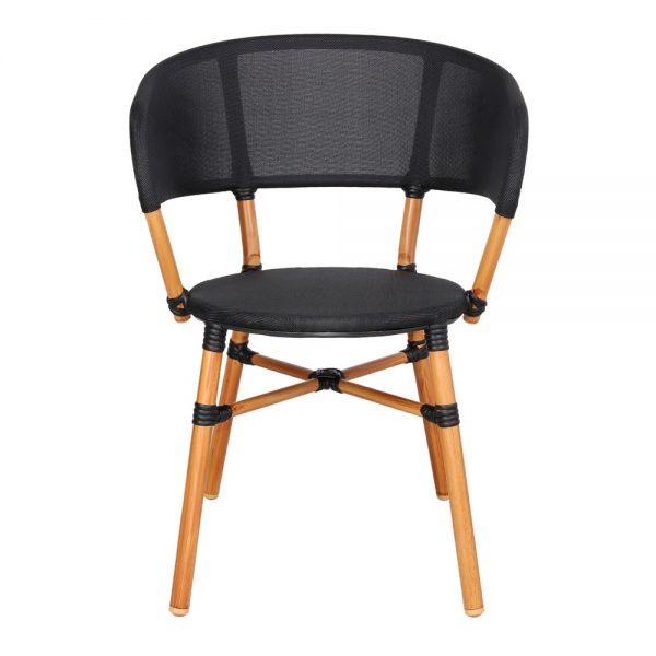 silla terraza tipo bistro asiento negro acabado bambu