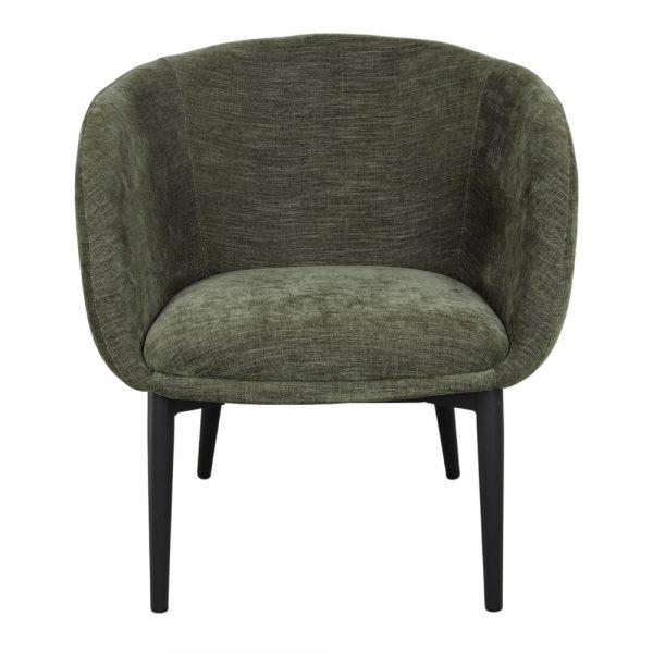 sillón asiento tapizado verde y patas negras