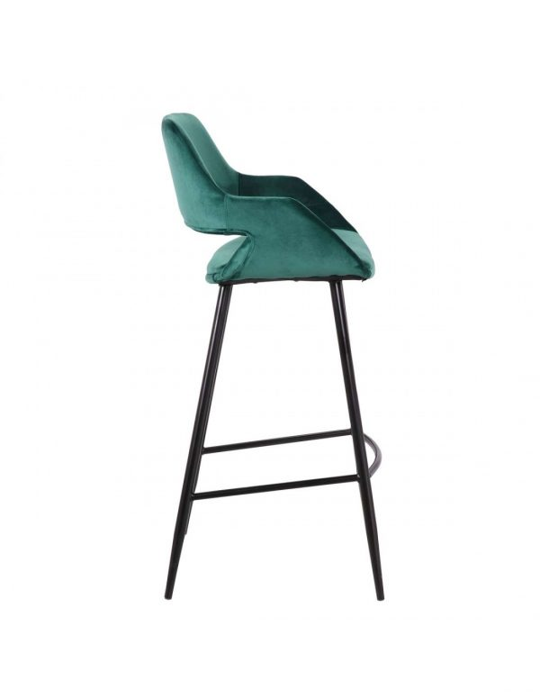 taburete alto diseño tapizado verde patas negras