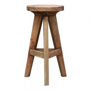 taburete rustico de madera maciza