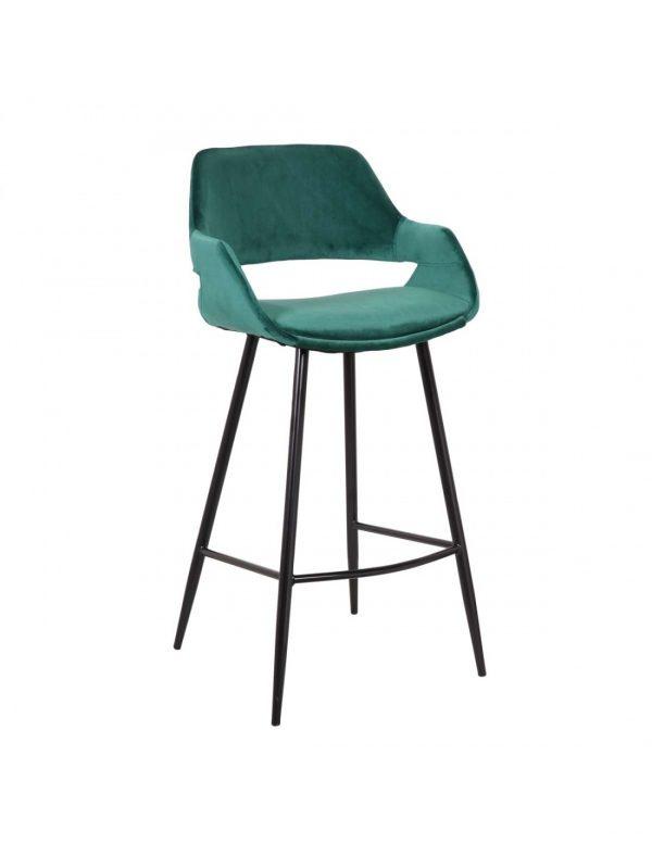 taburete con asiento tapizado verde y patas negras