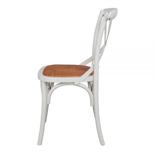 silla blanca con asiento enea