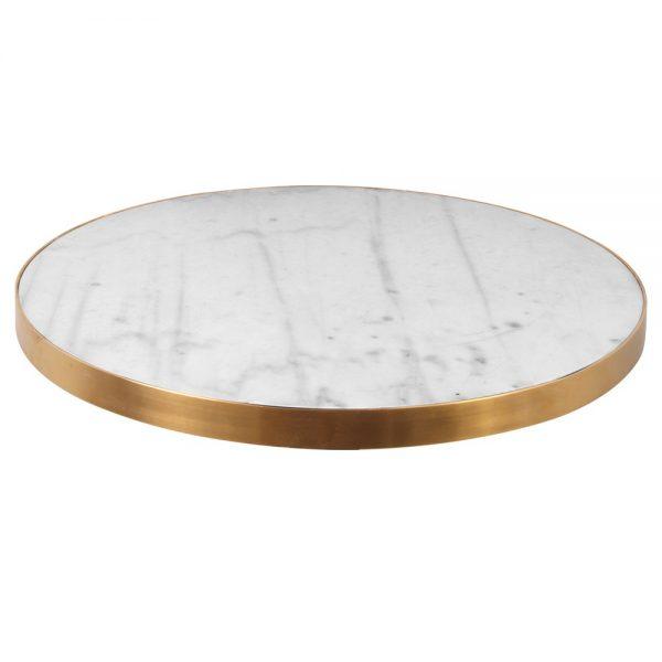 tapa mesa redonda blanca y dorado