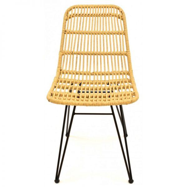 silla con asiento rattan beige patas negras