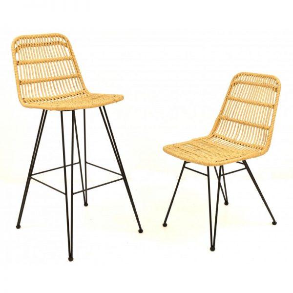 taburete y silla de rattan