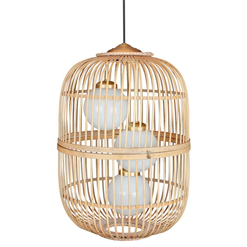 lampara rattan natural con tres bolas de cristal