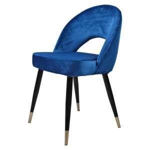 silla tapizada terciopelo azul