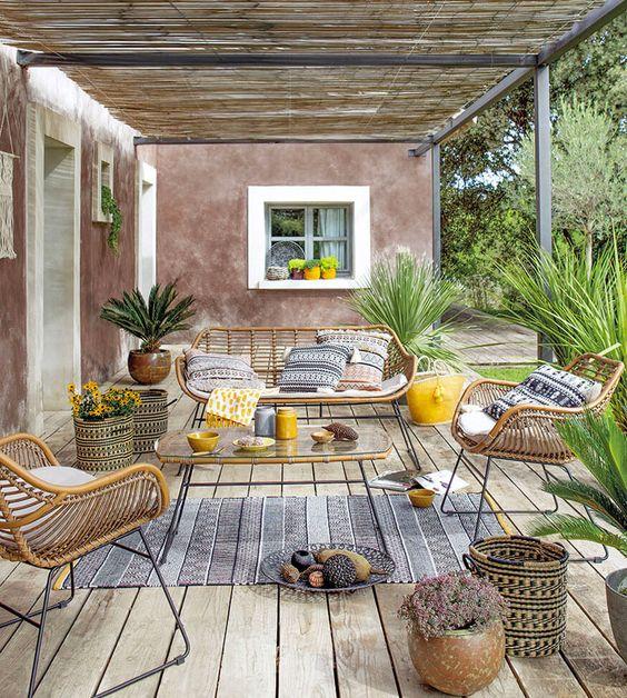 Decoración Con Muebles De Rattan Desvan Vintage Terrazas