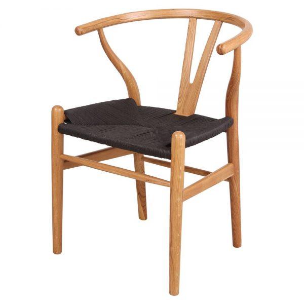 silla wishbone roble natural asiento negro